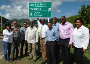 Ministers Lake, Richardson and other stakeholder's wrap-up tourist directional signs project.